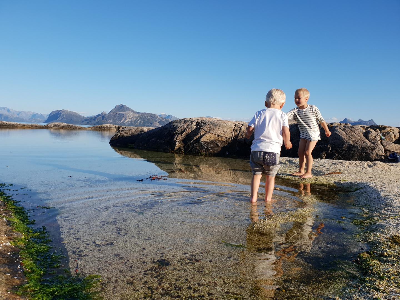 Barn leker på stranden i Meløy.